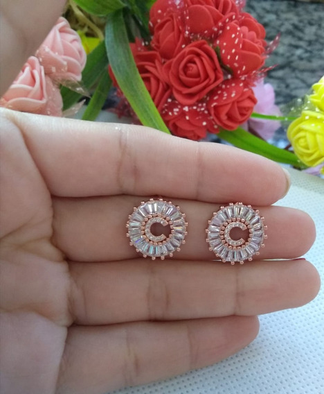 Brinco Feminino Semijoia Banhado Rose Gold Antialérgico