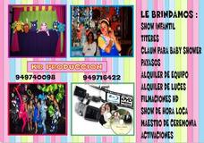 Show Infantil ,filmación, Claun, Baby Shower Payasos Titeres
