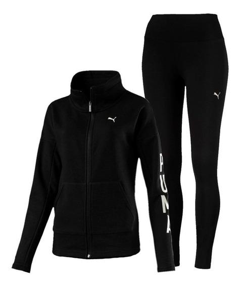 Puma Conjunto Training Mujer Graphic Legging Sweat Negro