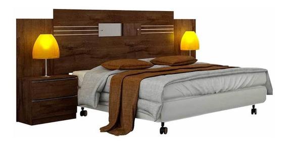 Cabeceira de cama box Novo Horizonte Plenus Casal 260cm x 121cm canela
