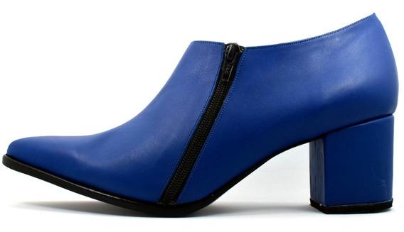 Botinetas Cuero Azul Doble Cierres Talles Grandes Nº 42