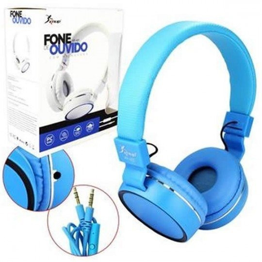 Fone De Ouvido Headphone Com Microfone Kp-421 Knup Azul