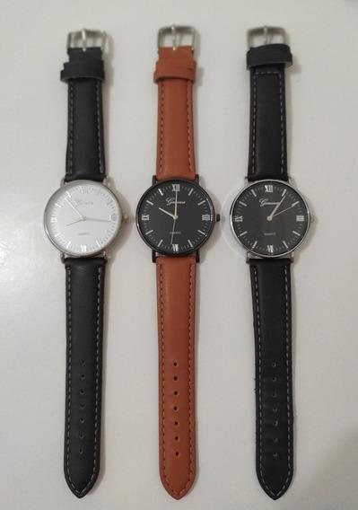 Kit 3 Relógios De Luxo Geneva Analógico - Promoção.