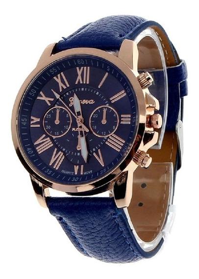 Relógio Geneva Feminino Algarismos Romanos Azul