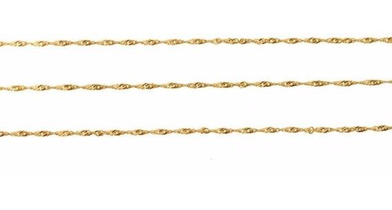 Corrente Cordão Colar Gargantilha 50cm De Ouro 18k Singapu