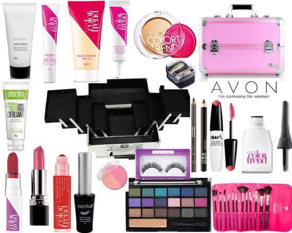 Maleta + Maquiagem Completa Profissional Avon Make V522