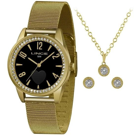 Relógio Lince Feminino Lrgj106l Kx75p2kx Dourado + Semijóia