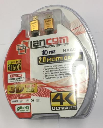 Cable Hdmi 2.0 De 10 Metros Lancom Para Tv Hd Conectores 24k