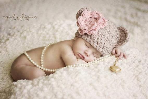 Gorro Oso Flor Tejido Crochet