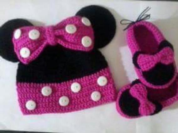 Conjunto Gorro Escarpines A Crochet