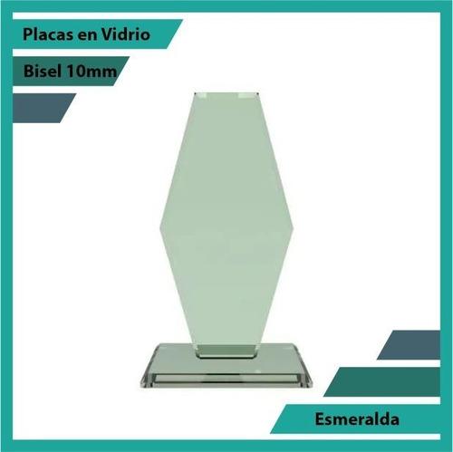 Placas Conmemorativas En Vidrio Forma  Esmeralda Plano