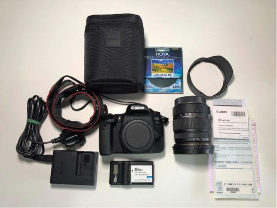 Câmera Cânon Eos 77d + Sigma 17-50 2.8 Ex Hsm + Bateria Extr
