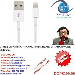 Cable Lightning Argom, 3 Pies, Blanco. Para iPhone 5/5s/6/6s