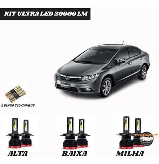 Kit Lampada Super Ultra Led 20000 Lm New Civic +t10 S/erros