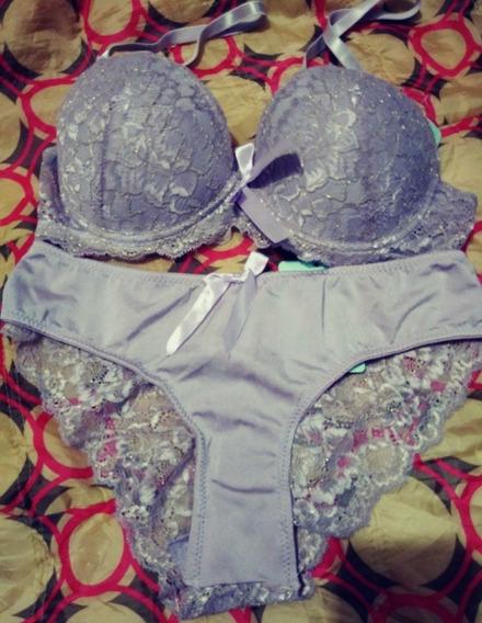 Set Brasier 34b Y Bikini Med Tela Satinada Encaje Brillo