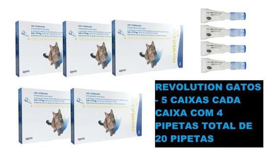 Revolution Gato Até 7,5 Kg Kit - 5 Caixas 20 Pipetas /full