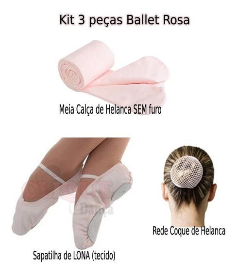 Kit 3 Pçs Ballet Sapatilha Lona Meia Calça E Rede Coque Rosa