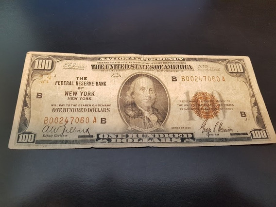 Nota De 100 Dólares Antiga 1929 Colecionador