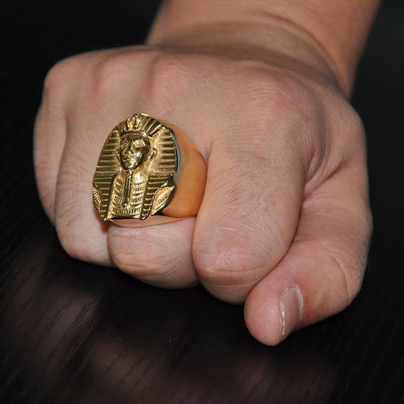 Anel Aço Inox Dourado, Banhado Egípcio Esfinge De Gizé - Aço 316