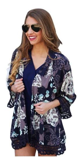 Cardigã Feminino Blusas Kimono Renda Floral Quimono Boho