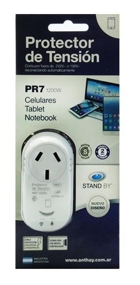 Protector Tension Enchufable Celular Notebook Tablets 1200w