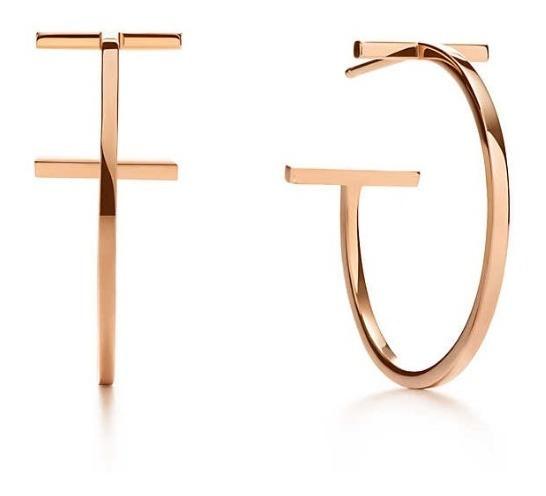 Brinco Tiffany Tiff Argola Ouro Rose C/ Embalagem