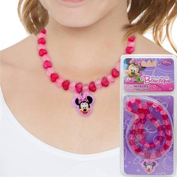 Colar Infantil Importado Minnie Corações Disney Kids Fashion