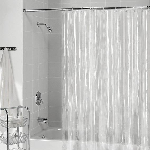 Cortina Box Banheiro Transparente + Presilhas 1,40x2,00 Mts
