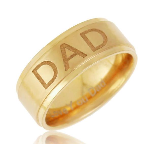 Anel Masculino Aço Dourado Presente Pai Folheado Ouro 18 395