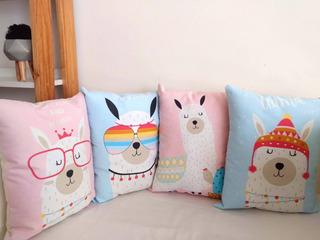 Almohadónes Nórdicos Llamas (pack X4) Bebé/niños/pijamadas