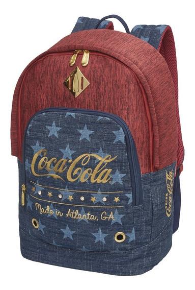 Kit Mochila + Estojo Stars Reforçada Coca Cola Oficial