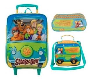 Kit Mochila Rodinha Lancheira Estojo Dup Scooby Doo Mystery