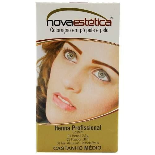Kit Henna Para Sobrancelha Nova Estética Castanho Médio 2,5g