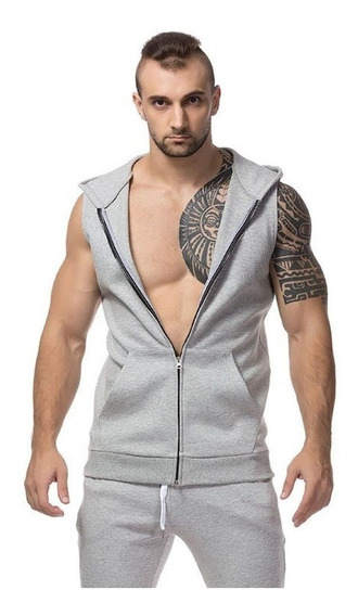 Camisa Ziper Com Capuz Machão Masculina Bolso Canguru