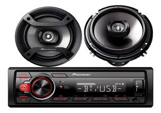 Combo Radio Auto Pioneer Mvh-s215bt + Parlantes 6