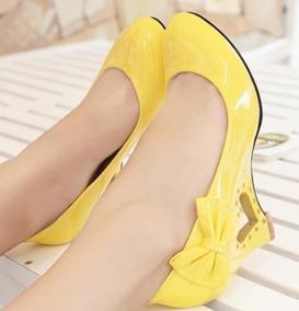 00a0fcdafa Sapato Boneca Anabela Amarelo - Sapatos no Mercado Livre Brasil