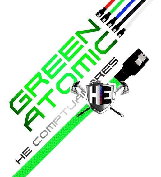 Kit 4 Cabo Sata 3 Iii 6gbps Gamer Sleeved Com Trava Ssd Pro