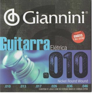 Encordoamento Cordas Guitarra 010 Níquel Giannini Mi Extra