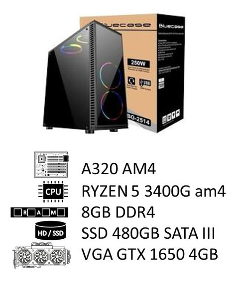 Pc Amd Ryzen 5 3400g, 8gb Ddr4, Ssd 480g, 500w, Gtx 1650 4gb