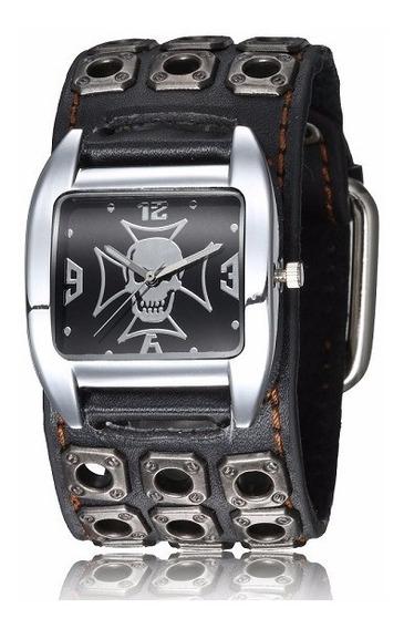 Relógio Masculino Bracelete Punk Caveira Pulseira Em Couro