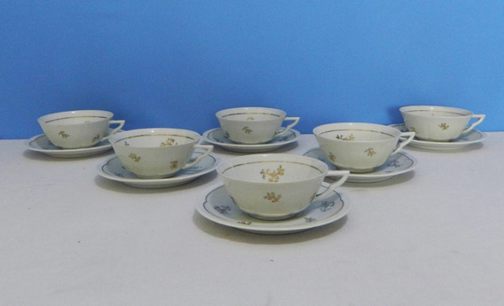 Juego 6 Tazas Para Té Porcelana Limoges Charles Ahrenfeld (b