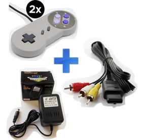 Kit Super Nintendo - 2x Controles, Cabo Av, Fonte Bivolt