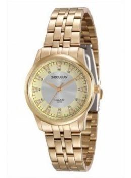 Relógio Seculus Feminino Dourado 20415lpsvda1-l1/2 ==64