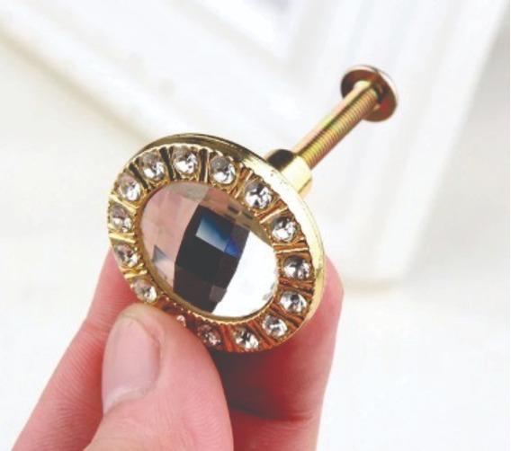 Puxador Cristal 30mm Lapidado Acabamento Dourado Kit C/ 6