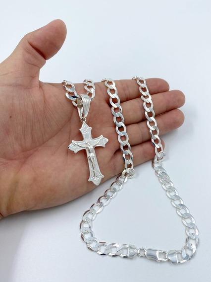 Cordão Escamado 8mm 70cm +crucifixo Prata 925 +2 Bd