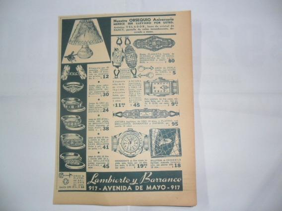 Lambierto Y Barranco Reloj Joya Aro Antigua Publicidad 1937