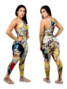Calça Legging + Top Blusa Mulher Maravilha Fitness Academia
