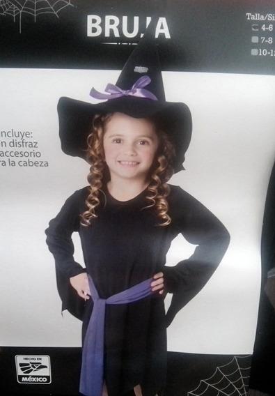 Disfraz De Brujita Dia De Muertos Halloween Niña Talla 4 A 6