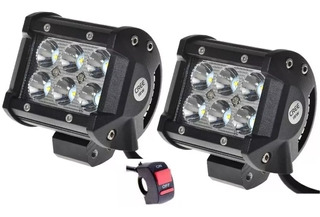 Par De Faros Auxiliares 18w 6 Led Cree Autos Motos+switch-xp