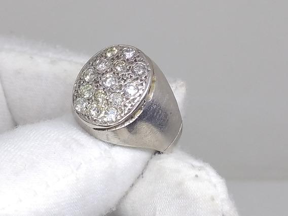 Anillo De Plata Paladio Con Diamantes Naturales